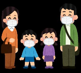 マスクをつけた新しい生活を送る笑顔の家族のいらすと