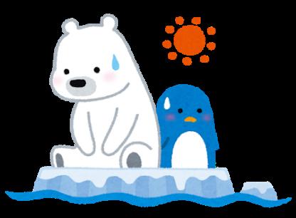 地球温暖化により氷がとけて、困っている白熊とペンギンのいらすと