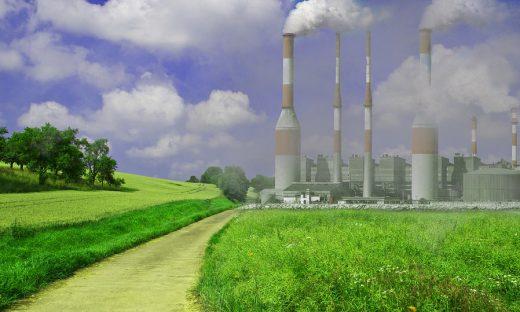 排気ガスなどによって汚染された自然を表した画像です