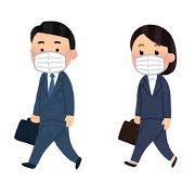 マスクをして歩いている男女のいらすと